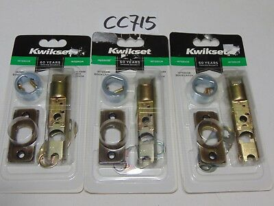 "3 New Kwikset 19843 6Wal Pl Cp 5 Interior Door Latch Lot 2 3/8"" Or 3 3/4"""