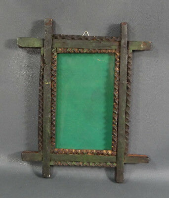 19c. ANTIQUE TRAMP ART CARVED WOOD PHOTO PICTURE WOODEN FRAME OLD GREEN PAINT