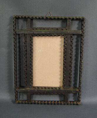 19c. ANTIQUE TRAMP ART CARVED WOOD PHOTO PICTURE WOODEN FRAME OLD PAINT