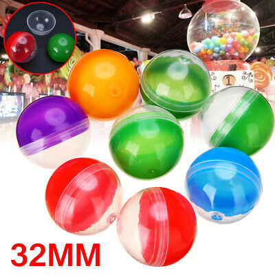 10pcs Mixed Color PP Vending Machine Empty Round Toy Capsules 32mm Diameter