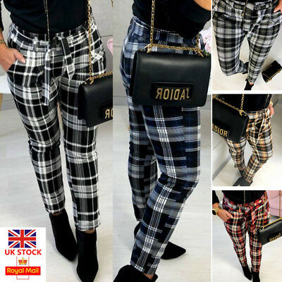 UK Womens Plaid Check Slim Skinny Pencil Trousers Ladies High Waist Casual Pants