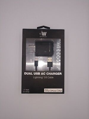 NEW Just Wireless Wall Charger 5ft Lightning Cable  - White 13101