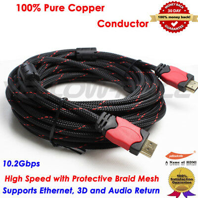 3ft-30ft HDMI CABLE 1.4 FULL HD TV BLURAY PLAYSTATION XBOX 360 1080P 4K GOLD Lot