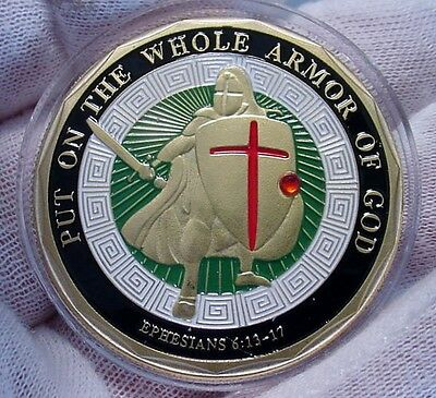 Put on the Whole Armor of God Challenge Coin -Very Nice-Colorized -New 2017- crc