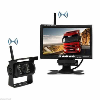"""Wireless 7"""" TFT LCD Monitor CCD Rear View System Backup Camera For RV Truck Bus"""