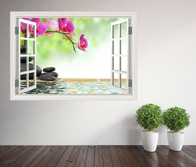 Bamboo Floral Zen basalt stones flower window wall sticker wall mural 10099158ww