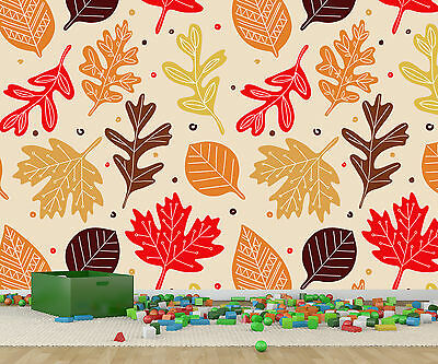 Wallpaper wall mural reds browns autumn leave pattern H240cm x W300cm (R798315M)