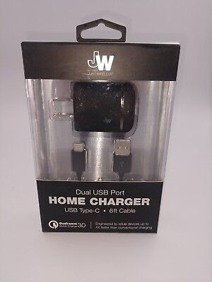 NEW Just Wireless - Dual USB Type C AC Power Adapter 6 ft Home Charger