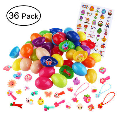 36pcs Toy Filled Happy Easter Eggs+36pcs Gifts+1pcs Child DIY Sticker Set