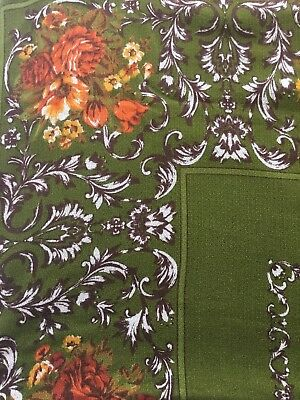 Barkcloth Fabric  / Tablecloth - Vintage 1960's - Burnt Orange Floral On Green