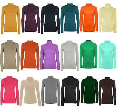 Women's Plain Polo Roll Turtle Neck Top Ladies Stretch Long Sleeve Top Jumper