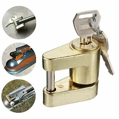 Trailer Hitch Coupler Lock For Locking Hauling Security Towing Tow Bar RV 2 Keys