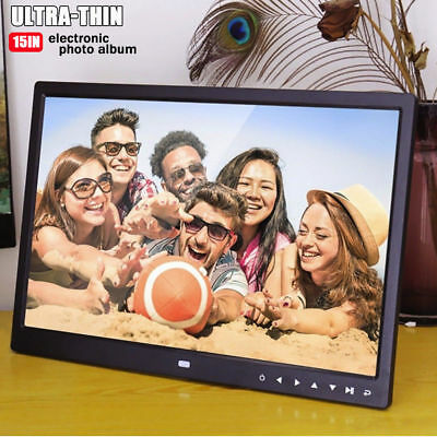 "15"" HD Digital Photo Frame Picture MP4 Movie Player with Multimedia Playback US"
