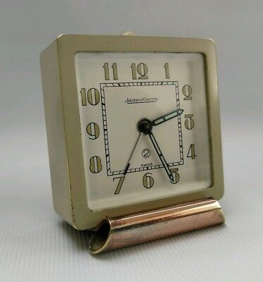 Vtg Jaeger Le Coultre 2 Day Art Deco Sage Green Swiss Travel Alarm Bedside Clock