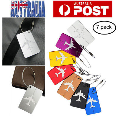7pc Aluminium Luggage Tags Suitcase Label Name Address ID Bag Baggage Tag Travel
