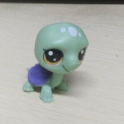 Littlest Pet Shop LPS Green Turtle With Purple Shell Yellow Eyes Girls Toy