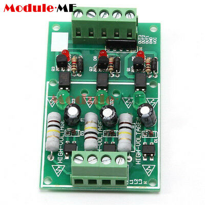 New AC 220V 3-Channel Optocoupler Isolation Module Testing Module No PCB Holder