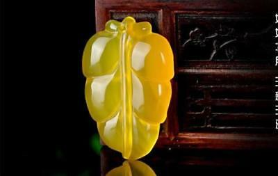 Chinese Natural chalcedony agate Jade Icy Yellow hand carved Pendant Leaf