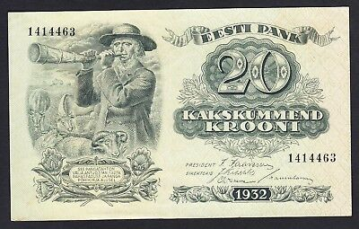 Estonia 20  Krooni 1932  XF++/AU  P. 64,  Banknote, Uncirculated