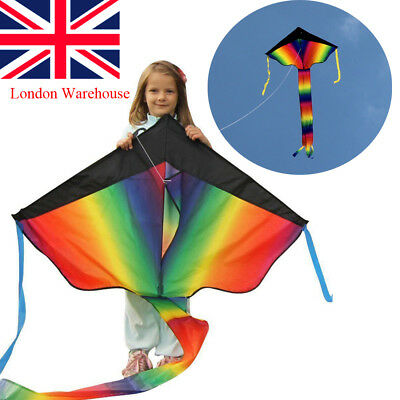 Huge 100M String Rainbow Flying Kite Kids Children Outdoor Game Fun Child Toy UK
