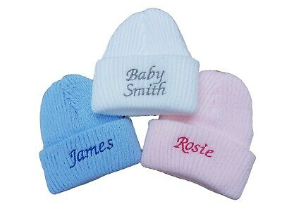 Baby boys girls newborn hat personalised love mummy daddy nanny just arrived