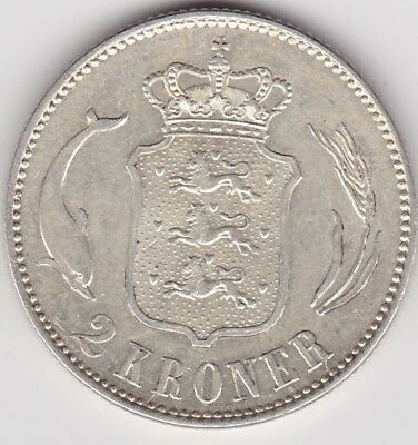 1916 Denmark Silver Two Kroner In Good Extremely Fine Condition