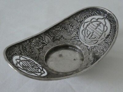 Antique Chinese Silver Dragon Inkwell Stand