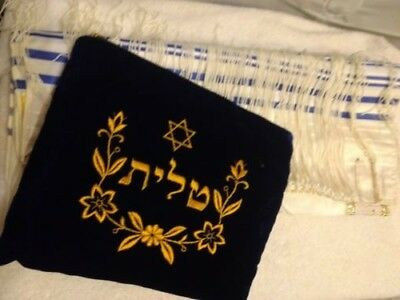 Tallit katan or gadol with tefillin Bag Set Plush Velvet Blue gold Embroidery