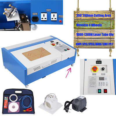 CO2 laser graviermaschine 40W cutting tool w/ USB port engraver Cutter W/4 Räder