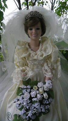 Book and Royal Wedding Princess Diana Bride Doll with stand .The Danbury MInt .