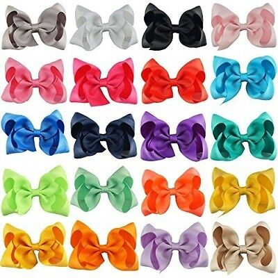 4 Inches Huge Big Bow Clip Boutique Hair Bows For Girls Kids Children Pack Of 20