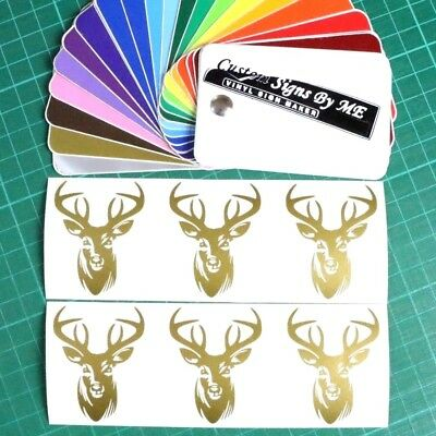 6x Personalised Wine Glass Stag Head Stickers Vinyl Decals Adhesive Gift Card GL