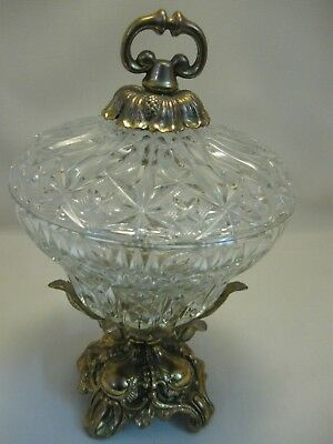 Hollywood Regency Compote Candy Dish Gold Tone Metal and Press Deep Cut Glass