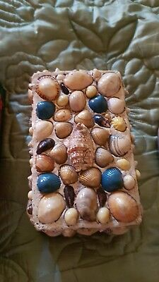 """Antique Vintage Large Shell Work Box 6""""1/2"""" By 4"""" Its A Heavy Box Vibrant Colour"""