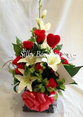 Artificial Silk Flower Bouquet in a Box Red Rose Lily Gift Free Delivery