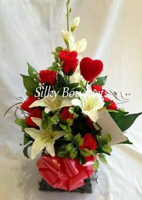 Christmas Artificial Silk Flower Bouquet in a Box Hospital Get Well Red Lily