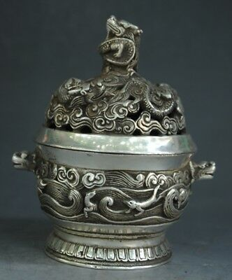 Chinese silver Dragon Beast Hollow Out Incense Burner incensory Censer e01