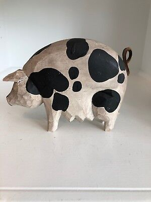 L. Koosed Signed Hand Painted Wood Carved Pig