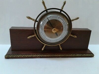 Salem Nautical Ship Wheel Genuine Mahogany Desk Barometer Vintage