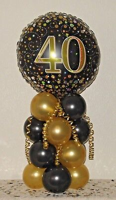 40Th  Birthday - Age 40 - Foil Balloon Display - Table Centrepiece - Decoration