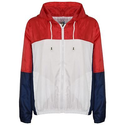 Kids Girls Boys Windbreaker Jackets Contrast Sleeve Red Hooded Rain Mac Raincoat