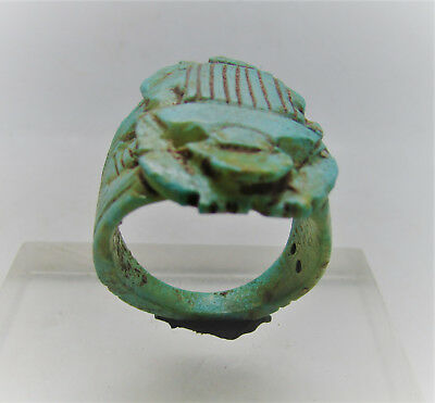 Beautiful Ancient Egyptian Glazed Faience Seal Ring With Scarab