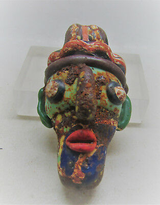 Ancient Phoenician Glass Mosaic Face Amulet Bearded Male