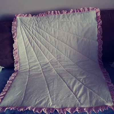 White eyelet with pink ruffle quilt handmade in USA  Pinklady cottage