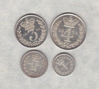 1831 William Iv Maundy Set Of Four Coins In Near Mint Condition
