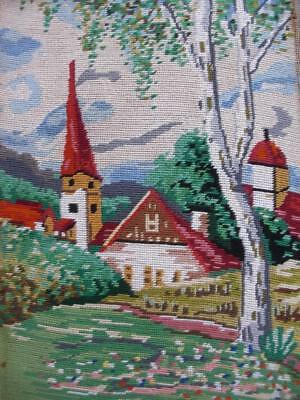 """vintage completed cotton needlepoint Spring WIEHLER GOBELIN charch 12.7""""x9"""""""