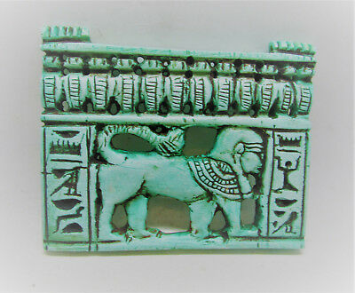 Beautiful Undated Egyptian Faience Panel With Hieroglyphics