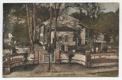 SC ~ St Helena Episcopal Church BEAUFORT South Carolina 1917 Hand Colored