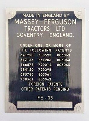 Massey Ferguson FE35 FE-35 Tractor Commission reproduction chassis plate