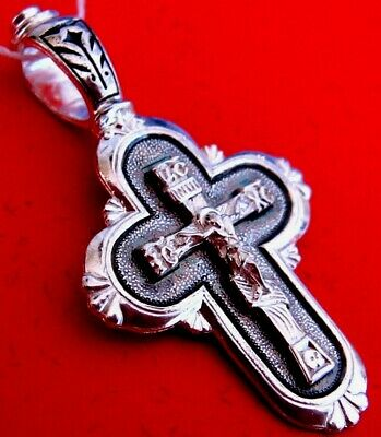 Russian Orthodox Icon Cross Christ  Silver 925 #1.1.19